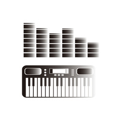 synthesizer and equalizer over color background