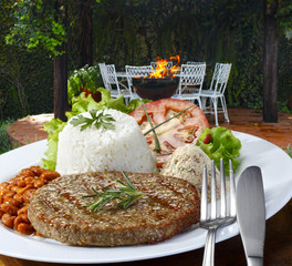 hamburger meat with rice and salad