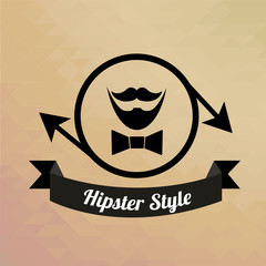 hispter moustache  in  circle and arrows over degrade background