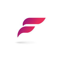 Letter F wing flag logo icon design template elements