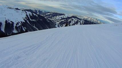 Beautiful winter high mountains landscape, slow motion, pov