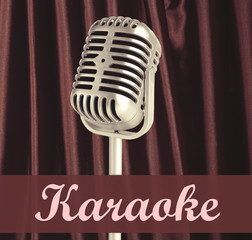 Silver retro microphone on brown curtain background