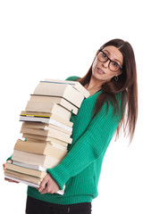 student female with glasses holds many books. isolated on white