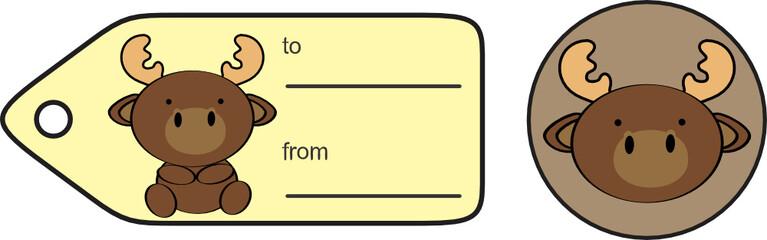 cute baby reindeer giftcard sticker