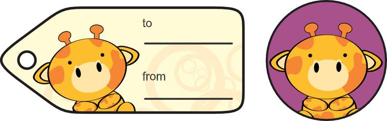 cute baby giraffe giftcard sticker