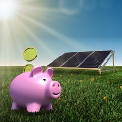 save money- solar panel with piggy bank