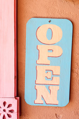 Open sign on one of Old Town Albuquerque shops