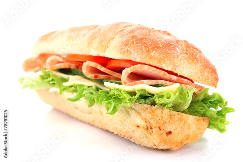 Foto op Aluminium Snack Fresh sandwich isolated on white