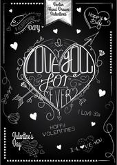 Heart Chalkboard vintage composition