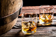 Glass of whiskey in the old cellar - 78291885