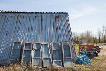 old wooden frame near  wall of  hangar