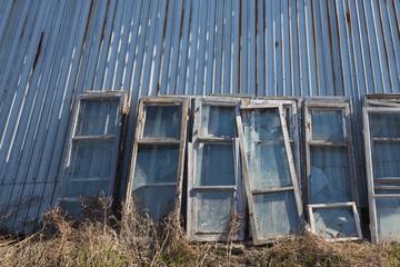 old frame near  wall of  hangar