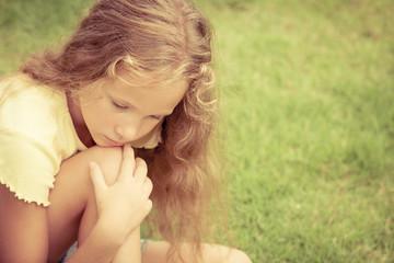 Portrait of sad blond teen girl