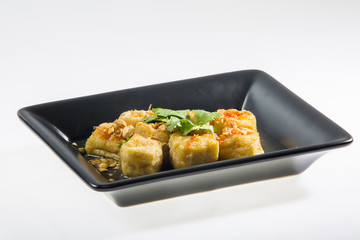 Fired yellow tofu with sauce