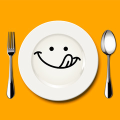 Vector of hungry face draw on white plate with spoon and fork