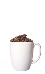 Roasted coffee bean in white mug