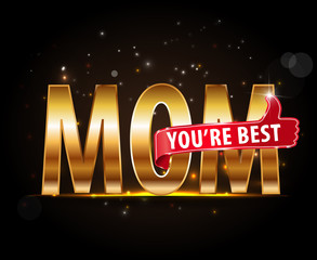 Happy Mothers's Day label, best mom lettering with thumbs up