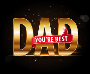 best dad typography icon with thumbs up, happy fathers day