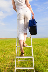woman with blue bag  on ladder in the field