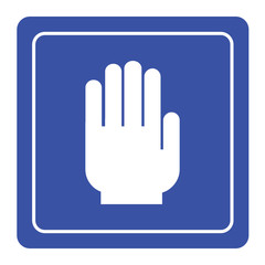 No entry hand sign on blue background