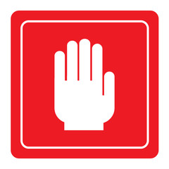 No entry hand sign on red background
