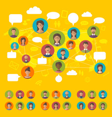 Social network concept on world map with people icons avatars, f