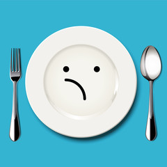 Vector of unsure face draw on white plate with spoon and fork