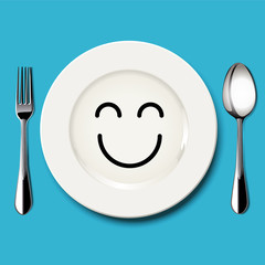 Vector of happy face draw on white plate with spoon and fork