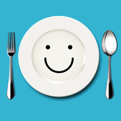 Vector of smile face draw on white plate with spoon and fork