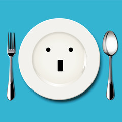 Vector of wonder face draw on white plate with spoon and fork