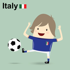 italy national football team, businessman happy is playing socce