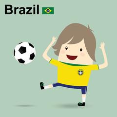 brazil national football team, businessman happy is playing socc