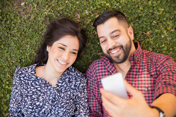Couple selfie at a park