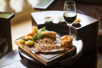 traditional english food sunday roast lunch in restaurant