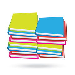 books stack isolated white background