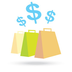 color paper shopping bags and money icon isolated on white backg