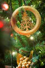 Christmas tree decorations, lights background..