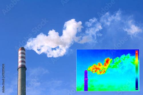 Leinwanddruck Bild Thermovision image heating chimney