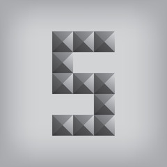 5 number five alphabet geometric icon and sign triangle modern w