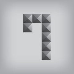 7 number seven alphabet geometric icon and sign triangle modern