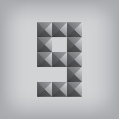 9 number nine alphabet geometric icon and sign triangle modern w