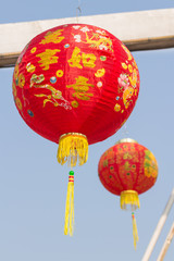 chinese lanterns for chinese celebrate with sky background