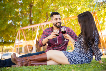 Toasting with wine outdoors