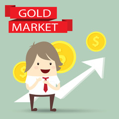 businessman is happy strategy gold marketing, business concept