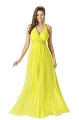 Woman Beauty Long Fashion Dress, Elegant Girl In Yellow Summer