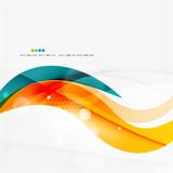 Blue, orange, red swirl wave lines. Light design