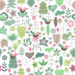 Seamless pattern with stylized trees and birds