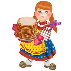 девочка в национальной одежде с блинами