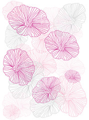 pink flowers painted line