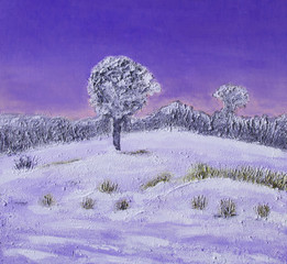 Oil painting of a winter landscape